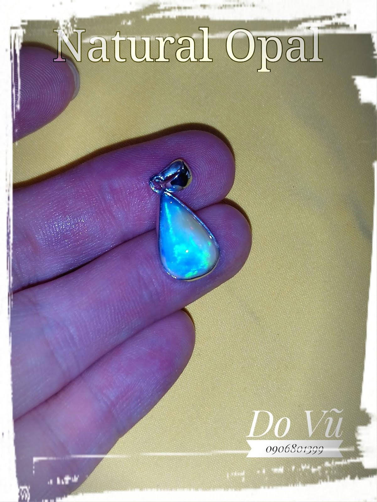 Mặt dây nữ đá Opal thiên nhiên, Natural Opal lửa mạnh, chất liệu vàng trắng 10k (15/04/20, 05)
