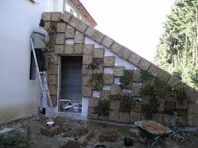 2004 Mur d' escalier embelli par un mur végétal en sphaigne réalisé par des particuliers à Montpellier prés d'Alès dans le 34