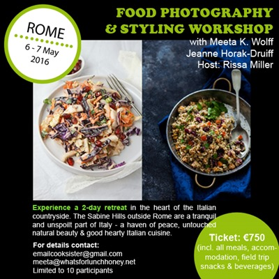 Rome, workshop, food, photography, styling