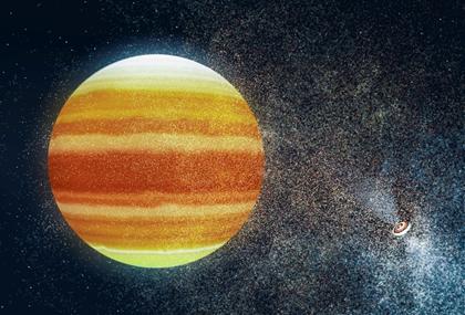 ilustração de exoplaneta em torno de pulsar