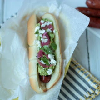 Guacamole Topped Hot Dogs.