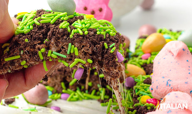 Ooey gooey marshmallow pull with Easter Rice Krispies Treats