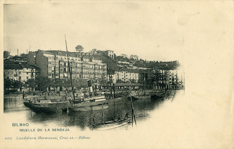 Vapor CIFUENTES en Bilbao. Muelle de la Sendeja. . Ca. 1900. Postal landaburu Hermanos, Cruz 11. Bilbao.jpg
