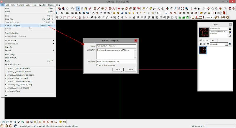SketchUp - กำหนดการแสดงผลของ SketchUp ให้เหมือนกับการทำงานบน AutoCAD Sutocad08