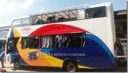 La UMSA presenta bus turístico para escolares y colegiales