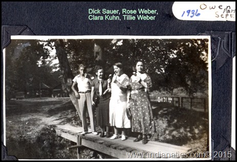 The Kuhn/Weber family enjoyed family outings to the many parks in Indiana.  This one was near what is now Cataract Falls State Park, in Spencer County.