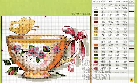 schema punto croce tazzine e teiera con le rose