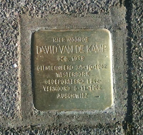 David van de Kamp - Da Costastraat 29 -  Stolperstein Enschede