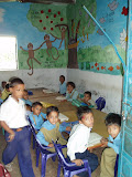Colourful murals painted by PVs for primary school pupils