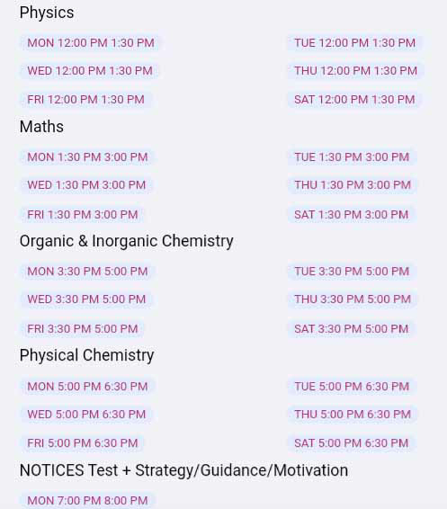 Prayas Batch Classes Schedules