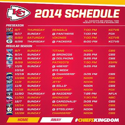 Tony S Kansas City Call The Kansas City Chiefs Schedule
