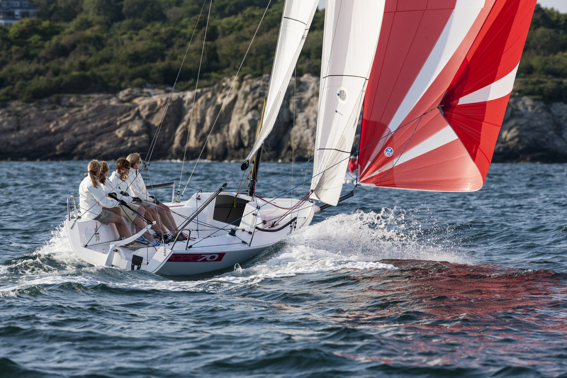 J/70 one-design speedster sailing off Newport