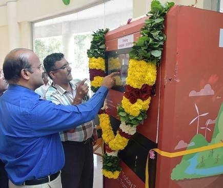 Reverse vending machines, Launched in Vellore, which can handle plastic bottles and beverage cans