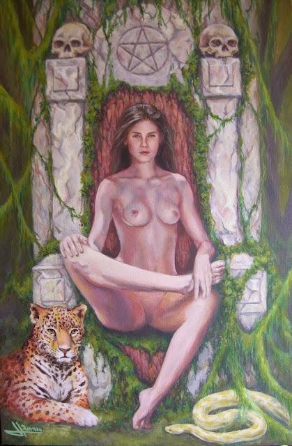 Amazona,pintura en técnica acrílico del pintor Jose Luis Romero Rodríguez