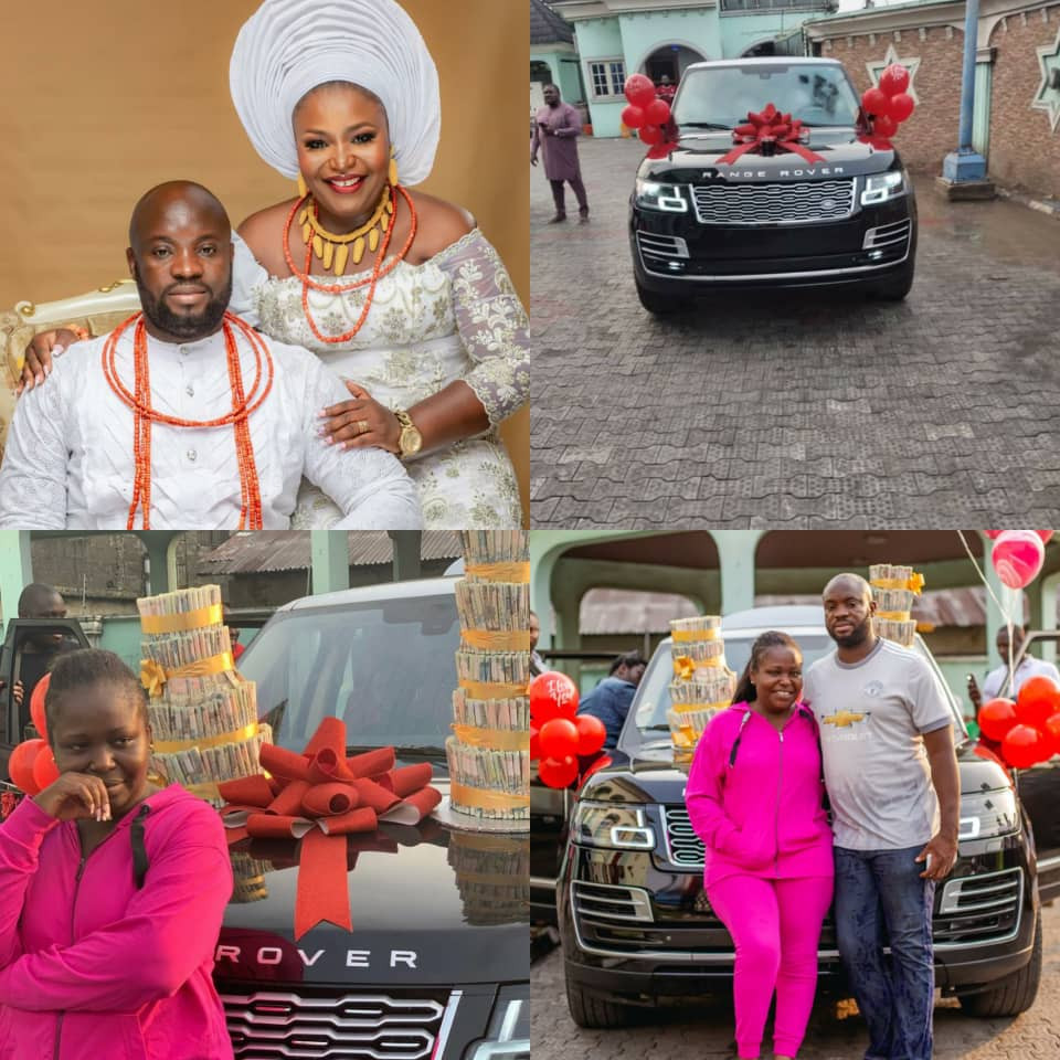 Warri-based billionaire, Ekomieyefa Uduboh, surprises his wife with a 2020 Range Rover on her birthday (photos)