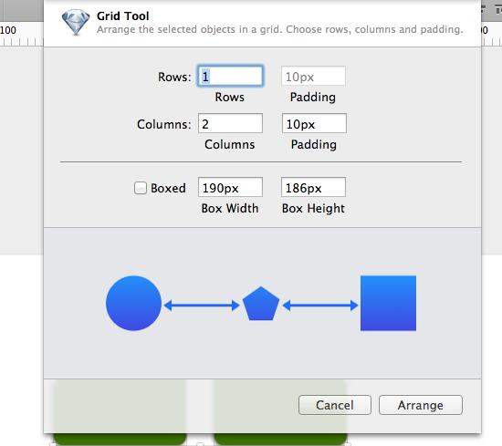 GridToolで等間隔の整列は指定できる。少し面倒ではあるけど。