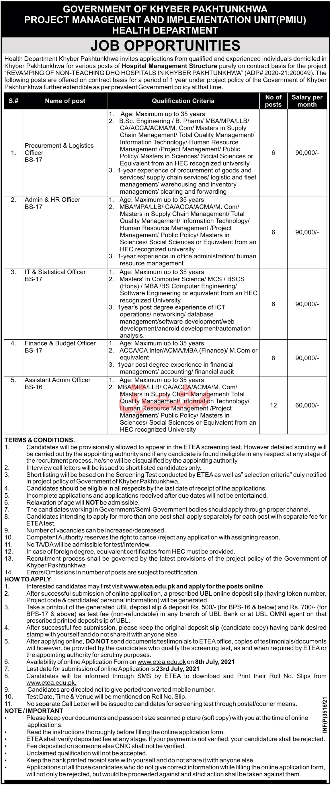 KPK Health Department Jobs 2021 Advertisement No 2