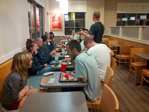 One night we stopped at Wendy's afterwards to grab a chili, and Chris (standing), started sharing Christ with a large group of teens that were there. They had many thoughtful questions for Chris, and he handled them so well!