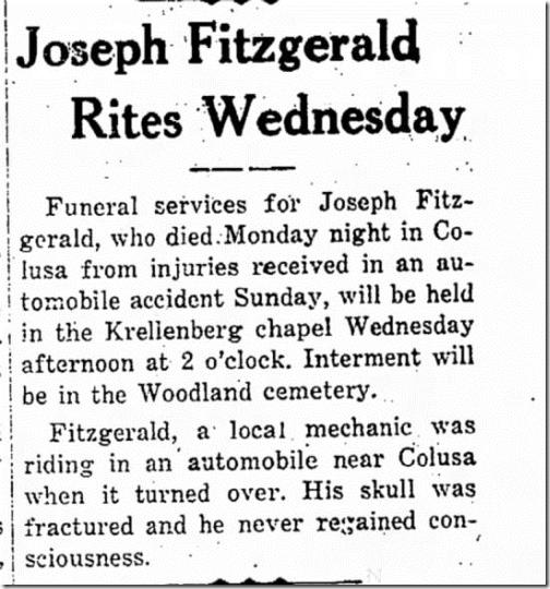 Joseph Fitzgerald Rites Woodland Daily Democrat 4 Jun1929 Page 4
