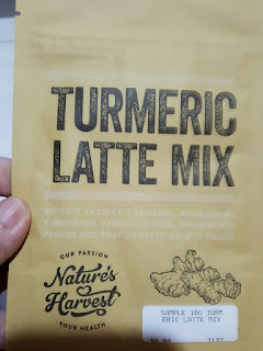 A sample pack of turmeric latte mix.
