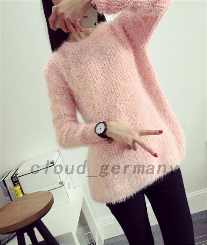 superbe femme pull pullover en mohair sweater tricot peluche doux chaud ebay. Black Bedroom Furniture Sets. Home Design Ideas