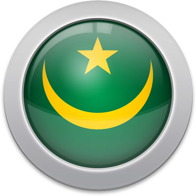 Mauritanian flag icon with a silver frame