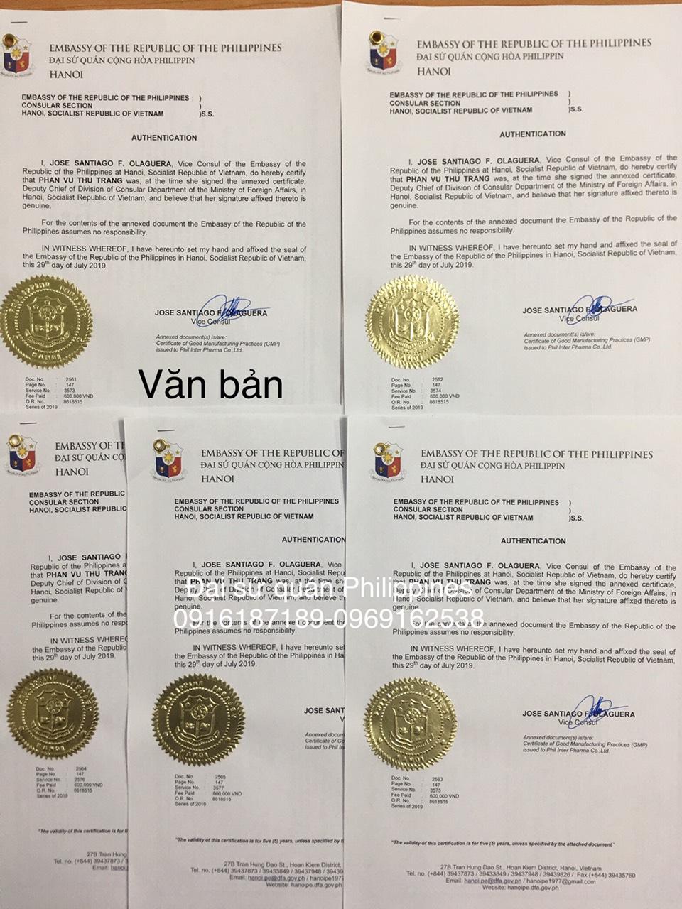 Chứng nhận hợp pháp hoá giấy tờ tại đại sứ quán Philippines