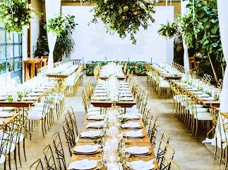 Chameleon chairs with farm tables an example of country elegance.Chameleon chairs rentals available in Las Vegas exclusively at By Dzign.
