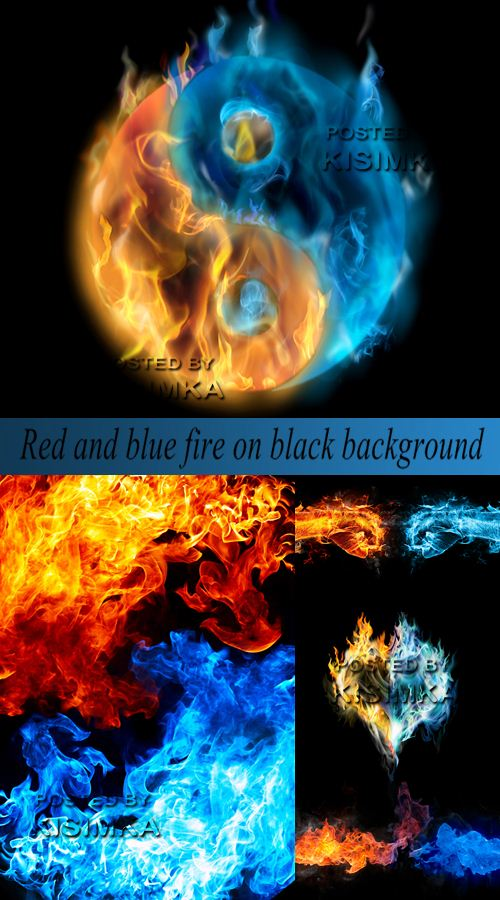 Stock Photo: Red and blue fire on black background