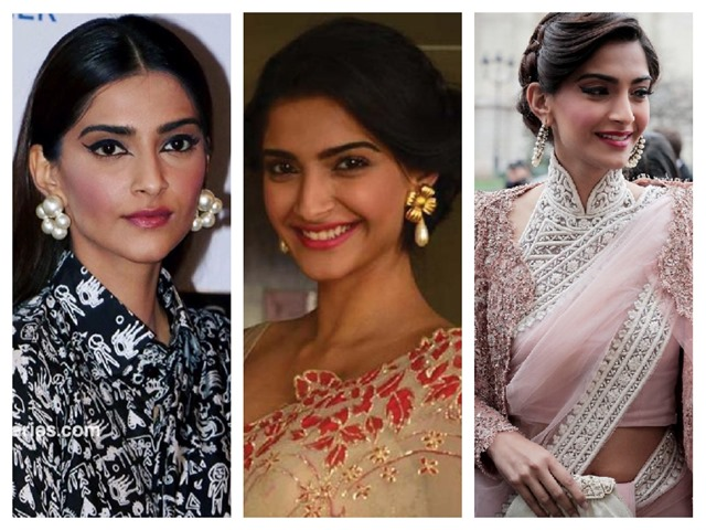 pearl earrings sonam kapoor saree style