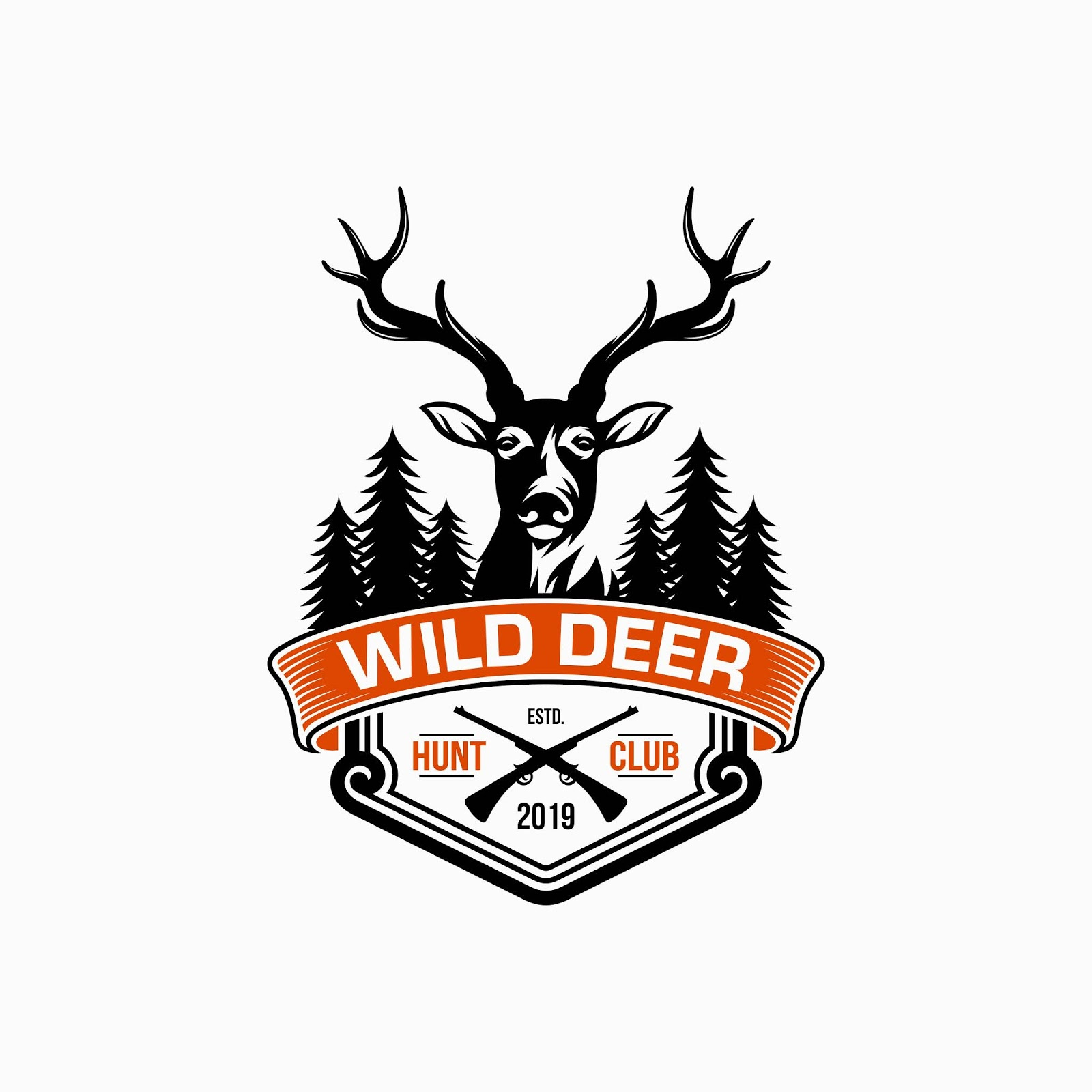 Wild Deer Vintage Logo Design Vector Template Free Download Vector CDR, AI, EPS and PNG Formats
