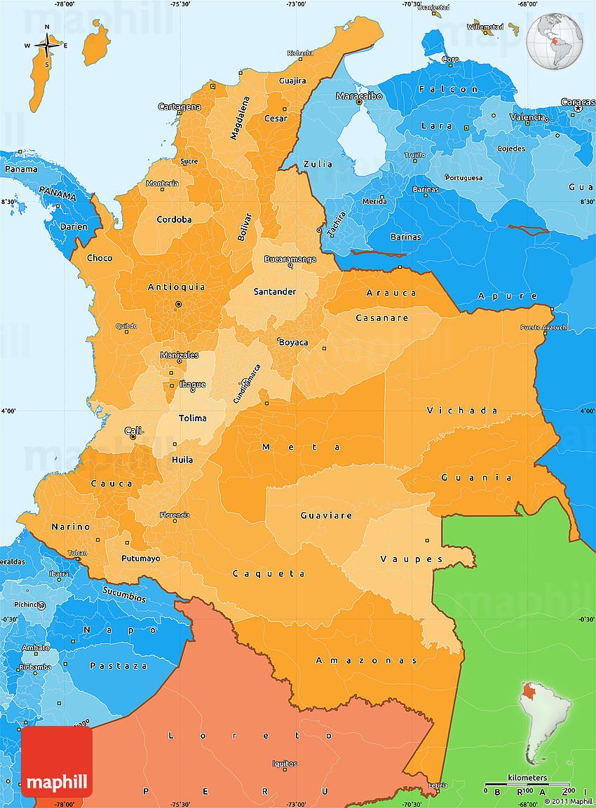 Mapa politico de Colombia con sus departamentos y Capitales3