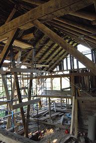 In order to replace the plate in situ the roof system had to be shored and its load transfered to shoring frames.