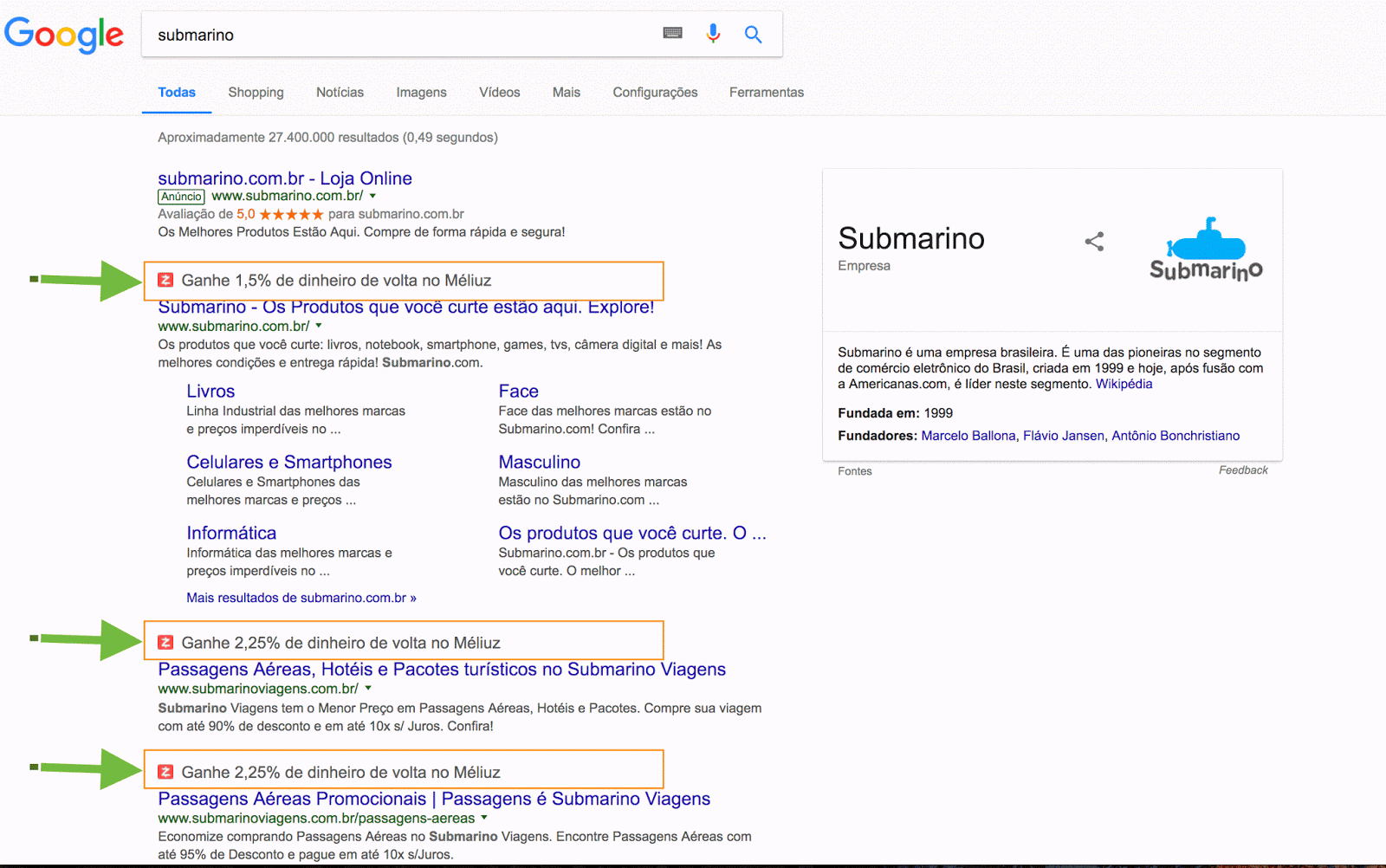 inject content into google search page result - Isn't it a violation