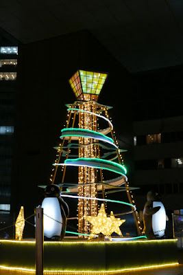 Winter Illumination of a tree and penguin friends by Shinjuku Terrace City, a version of Christmas lights