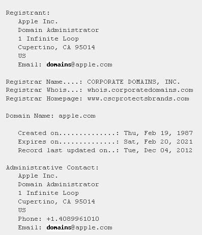 Informacion whois apple