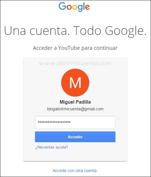 Escribir contraseña para acceder a YouTube