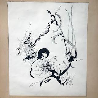 Linda Bouder Signed Ink Drawing