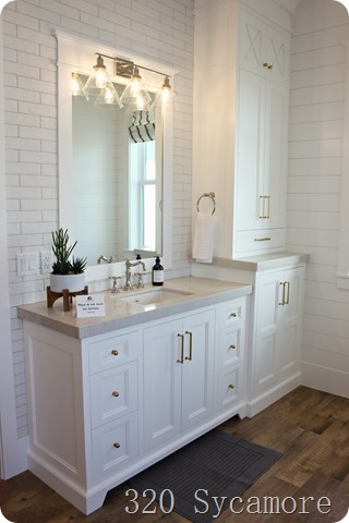 white bathroom wood floors