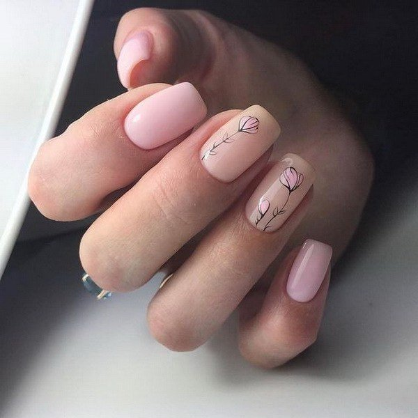 46 best nail art designs for beginners nails c flowers on nude nail base design great for every season and occasions prinsesfo Image collections