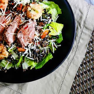Spicy Surf and Turf Caesar Salad Recipe (gluten free).