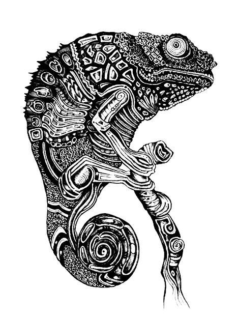 Free Coloring Page Coloringadultdifficultcameleon Very Dark Drawing To  Color