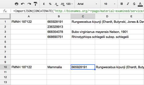iPhylo: Looking up specimen codes in GBIF using Google