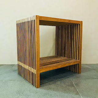 Slat Wood End Table
