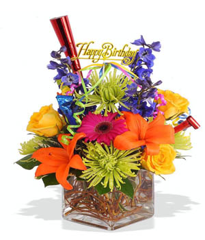 Festive Happy Birthday Vase Mixed Bouquet - flower gifts