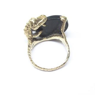 14K Gold & Black Stone Alligator Ring