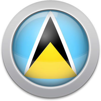 Saint Lucian flag icon with a silver frame