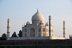 The Taj Mahal as seen from the bank of the Yamuna River.