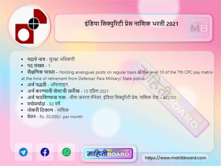 India Security Press Nashik Recruitment 2021