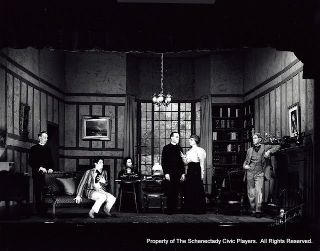 Cyril Dixon, Nigel P. Altman, Dr. Katherine Blodgett, W.H. Norris, Jr., Mrs. Scott Button and Jeremy Bagster-Collins in CANDIDA - November 1931.  Property of The Schenectady Civic Players Theater Archive.
